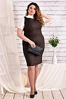 Коричневое платье больших размеров 0467