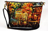 Джинсовая стеганная сумочка Городской дворик