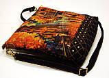 Женская сумочка импрессионисты оранжевая с джинсовой спинкой, фото 2