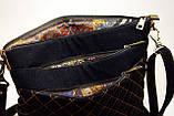 Женская сумочка импрессионисты оранжевая с джинсовой спинкой, фото 3