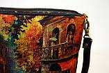 Женская сумочка импрессионисты оранжевая с джинсовой спинкой, фото 4