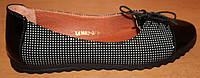 Балетки женские кожаные горошек шнуровка, кожаные балетки женские от производителя модель ВБ1402-3