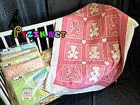 Теплое байковое одеяло 100% хлопок, цвет на выбор Розовое