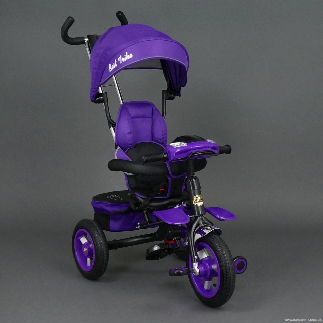 Велосипед трехколесный с поворотным сиденьем и фарой Best Trike 6699,фиолетовый на чернойраме