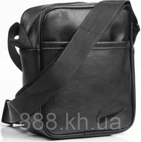 3c111b3e6e74 Мужская кожаная сумка через плече NIKE малая, барсетка мужская, барсетка  найк, логотип черный