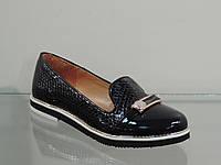 Стильные женские туфли лак-кожа натуральная рептилия темно-синие