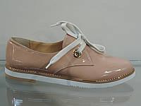 Стильные женские туфли на шнурках лак-кожа натуральная бежевые