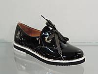 Стильные женские туфли на шнурках лак-кожа натуральная черные