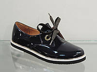 Стильные женские туфли на шнурках лак-кожа натуральная темно-синие