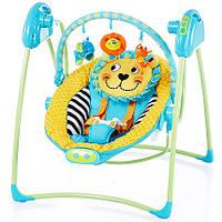 Музыкальная электрокачель Bambi качели 2в1  дуга вибро напольная желто-голубая