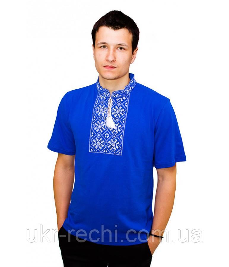 Синя вишита футболка білою гладдю «Сніжинка»