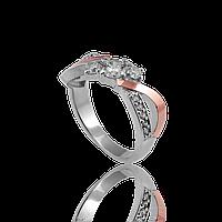 Красивое серебряное кольцо АЛЕКСАНДРА 925 пробы с накладками золота 375 пробы.Золото с серебром!