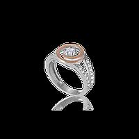 Серебряное кольцо БАРБАРА 925 пробы с накладками золота 375 пробы.Серебряное кольцо с золотой пластиной