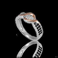 Серебряное кольцо ВАЛЕРИ 925 пробы с накладками золота 375 пробы.Серебряное кольцо с золотой пластиной