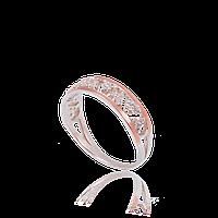 Серебряное кольцо БЕЛЛА 925 пробы с накладками золота 375 пробы.Серебряное кольцо с золотой пластиной, фото 1