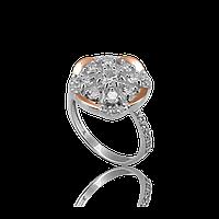 Серебряное кольцо ГЛАЗУРЬ 925 пробы с накладками золота 375 пробы.Серебряное кольцо с золотой пластиной