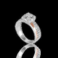 НЕЖНОЕ серебряное кольцо ДОМИНИК 925 пробы с накладками золота 375 пробы.Серебряное кольцо с золотой пластиной