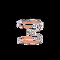 Серебряное кольцо ЗАГАДКА 925 пробы с накладками золота 375 пробы.Серебряное кольцо с золотой пластиной