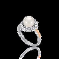 НЕЖНОЕ Серебряное кольцо ИНЕССА 925 пробы с накладками золота 375 пробы.Серебряное кольцо с золотой пластиной