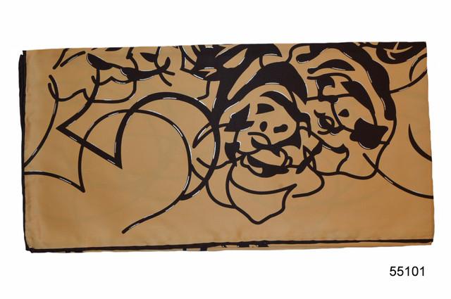 Шелковый кофейный атласный платок 2