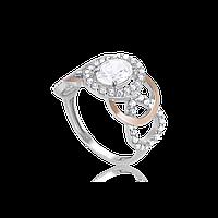 Серебряное кольцо КАРМЕН 925 пробы с накладками золота 375 пробы.Серебряное кольцо с золотой пластиной