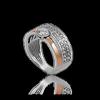 Серебряное кольцо НАТАЛИ 925 пробы с накладками золота 375 пробы.Серебряное кольцо с золотой пластиной