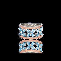 Серебряное кольцо ОЛИВИЯ 925 пробы с накладками золота 375 пробы.Серебряное кольцо с золотой пластиной, фото 1