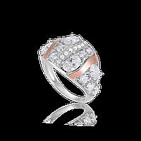 Серебряное кольцо ПАЛЬМИРА 925 пробы с накладками золота 375 пробы.Серебряное кольцо с золотой пластиной