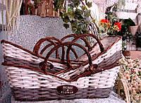 Набор 3 шт. кашпо-корзинок из лозы прямоугольной формы с ручкой для цветочных композиций