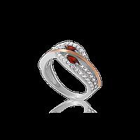 Серебряное кольцо СОБЛАЗН  925 пробы с накладками золота 375 пробы.Серебряное кольцо с золотой пластиной