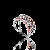 Серебряное кольцо ШАРЛОТТА 925 пробы с накладками золота 375 пробы.Серебряное кольцо с золотой пластиной