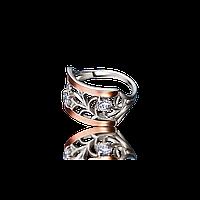 Красивое серебряное кольцо ЮРМАЛА 925пробы с накладками золота 375 пробы.Серебряное кольцо с золотой пластиной