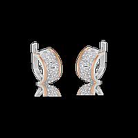 Серебряные серьги АДРИАНА 925 пробы со вставками золота 375 пробы