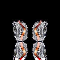 Серебряные серьги ВИРДЖИНИЯ  925 пробы со вставками золота 375 пробы