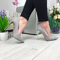 Модные женские туфли, золотой каблук 11,5 см, серые / замшевые туфли женские, стильные
