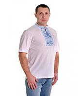 Біла футболка з синьою вишивкою хрестиком. «Народна»