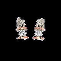 Серебряные серьги ЗАРИНА 925 пробы со вставками золота 375 пробы