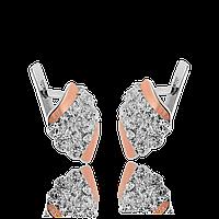 Серебряные серьги ЛАГУНА 925 пробы с НАКЛАДКАМИ золота 375 пробы , фото 1