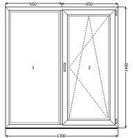 Металлопластиковые окна 1300*1400 однокамерные