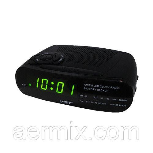 Электронные часы VST 906-2 зеленые, настольные сетевые часы, радиочасы будильник, часы с подсветкой