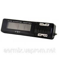 Часы для автомобиля VST 7065, электронные автомобильные часы, автомобильные часы термометр, часы с термометром