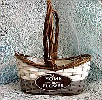 Набор 2 шт. кашпо-корзинок из лозы овальной формы с ручкой для цветочных композиций