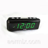 Часы сетевые VST 738-2 зеленые, часы будильник электронные настольные, настольные электронные часы от сети