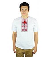 """Біла футболка з червоно-коричневою вишивкою хрестиком.«Народна"""", фото 1"""