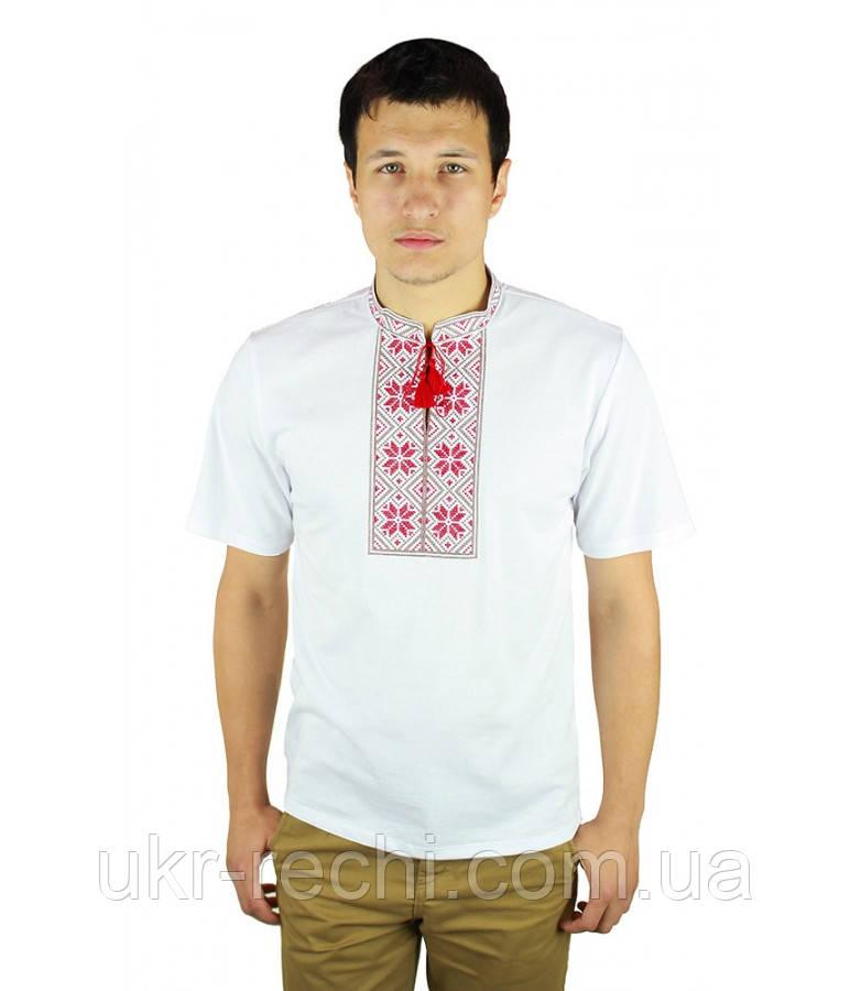 Біла футболка з червоно-коричневою вишивкою хрестиком.«Народна ... 15344e951b34a