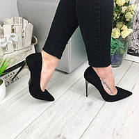 Модные женские туфли, серебряный каблук 11,5 см, черные / туфли женские, эко замша, обувь весна