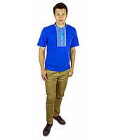"""Синя футболка з голубою вишивкою хрестиком.«Народна"""""""