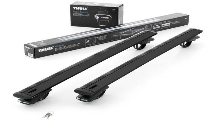 Багажник Thule-775 WingBar Black (алюминиевый плоский) на рейлинги, фото 2
