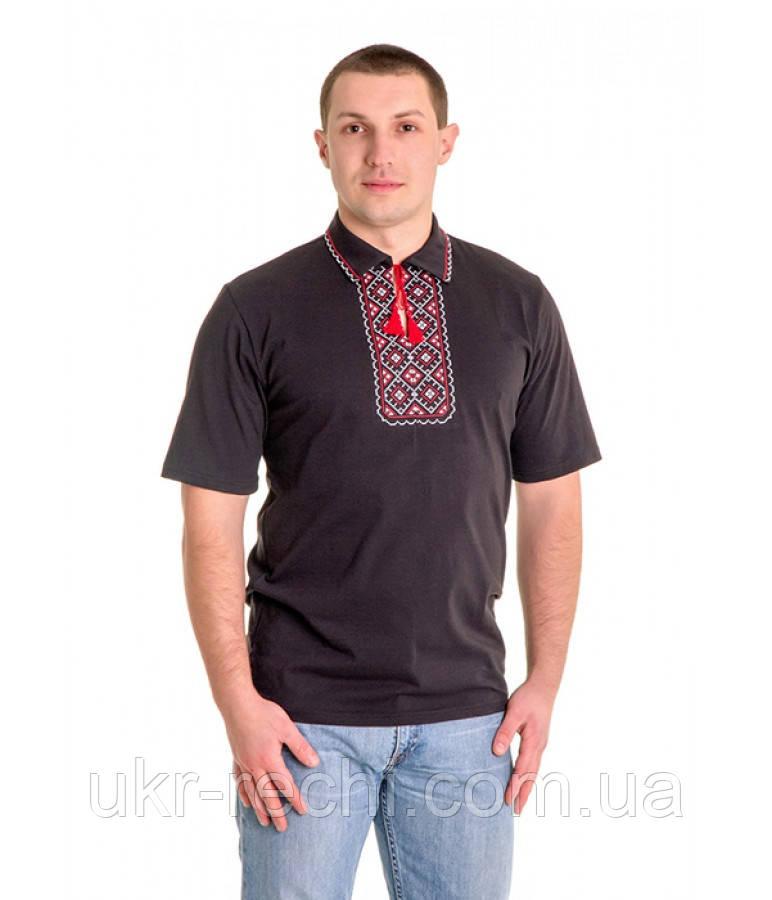 Чорна футболка з червоно-білою вишивкою хрестиком. «Поло» - Інтернет-магазин da527be4c6984