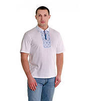 """Біла футболка з синьо-білою вишивкою хрестиком. . """"Поло"""""""